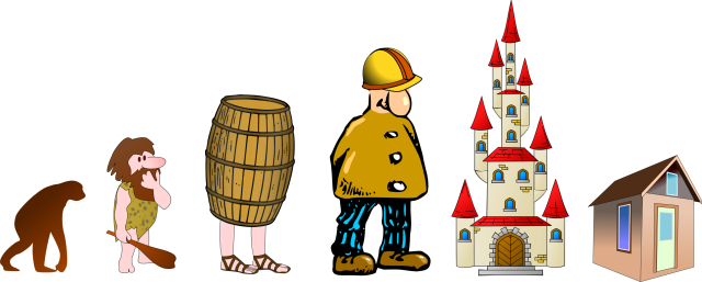 Evolution: trees - caves - barrels - builders - castles - tiny houses